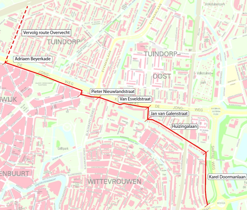 Overzicht van de zogeheten doorfietsroute. Beeld: Gemeente Utrecht